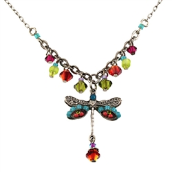 Firefly Necklace Multi Colored Beaded Dragonfly The